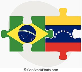 Brazil and Venezuela Flags in puzzle isolated on white...
