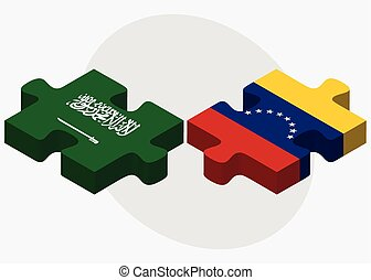 Saudi Arabia and Venezuela Flags in puzzle isolated on white...