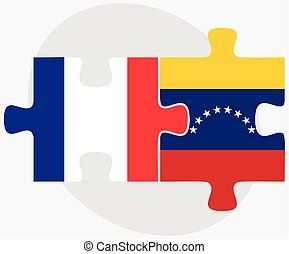 France and Venezuela Flags in puzzle isolated on white...