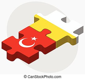 Turkey and Holy See - Vatican City State Flags in puzzle...