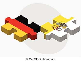 Germany and Holy See - Vatican City State Flags in puzzle...