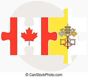 Canada and Holy See - Vatican City State Flags in puzzle...
