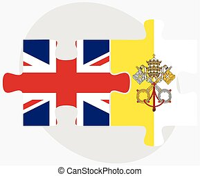 United Kingdom and Holy See - Vatican City State Flags in...