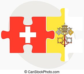 Switzerland and Holy See - Vatican City State Flags in...