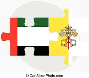 United Arab Emirates and Holy See - Vatican City State Flags...