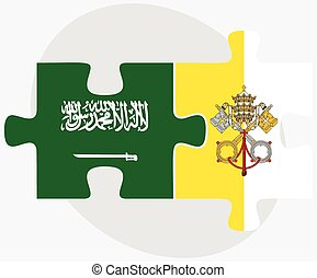 Saudi Arabia and Holy See - Vatican City State Flags in...