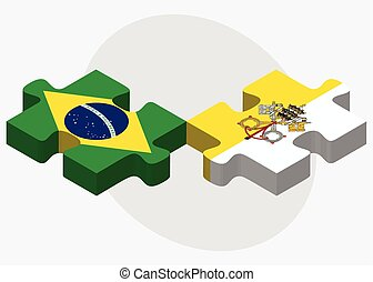 Brazil and Holy See - Vatican City State Flags in puzzle...