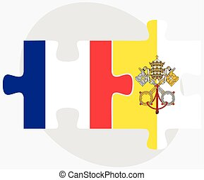 France and Holy See - Vatican City State Flags in puzzle...