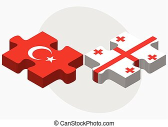 Turkey and Georgia Flags in puzzle isolated on white...