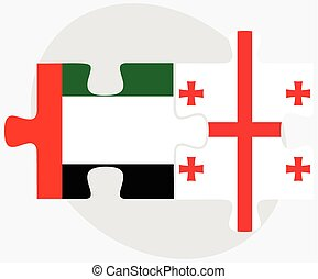 United Arab Emirates and Georgia Flags in puzzle isolated on...