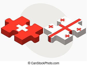 Switzerland and Georgia Flags in puzzle isolated on white...