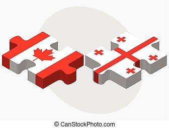 Canada and Georgia Flags in puzzle isolated on white...