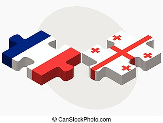 France and Georgia Flags in puzzle isolated on white...