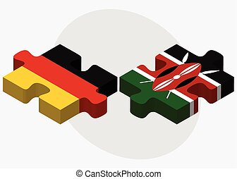 Germany and Kenya Flags in puzzle isolated on white...