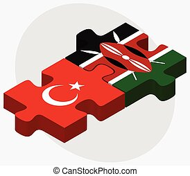 Turkey and Kenya Flags in puzzle isolated on white...