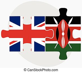 United Kingdom and Kenya Flags in puzzle isolated on white...