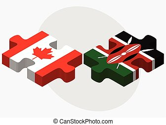 Canada and Kenya Flags in puzzle isolated on white...
