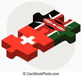 Switzerland and Kenya Flags in puzzle isolated on white...