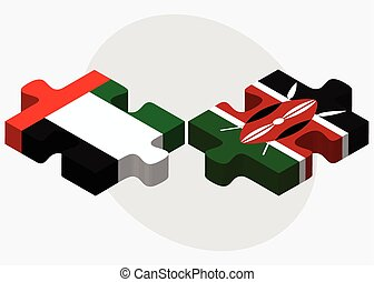 United Arab Emirates and Kenya Flags in puzzle isolated on...