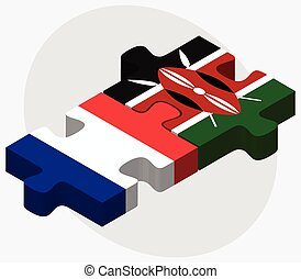 France and Kenya Flags in puzzle isolated on white...