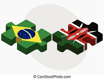 Brazil and Kenya Flags in puzzle isolated on white...