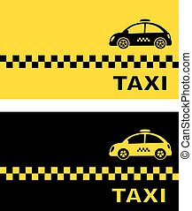 business card with retro taxi