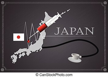 Map of japan with stethoscope