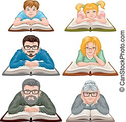 Set people reading book