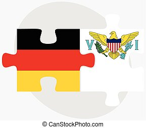 Germany and Virgin Islands US Flags in puzzle isolated on...