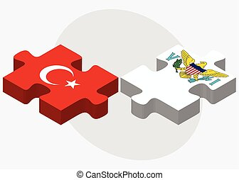 Turkey and Virgin Islands US Flags in puzzle isolated on...