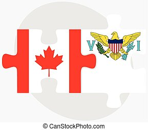 Canada and Virgin Islands US Flags in puzzle isolated on...