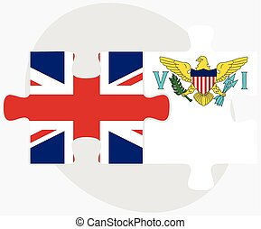 United Kingdom and Virgin Islands US Flags in puzzle...