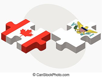 Canada and Virgin Islands (U.S.) Flags in puzzle isolated on...