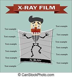 radiografía, película,
