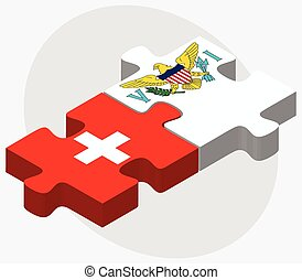 Switzerland and Virgin Islands US Flags in puzzle isolated...