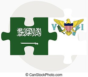 Saudi Arabia and Virgin Islands US Flags in puzzle isolated...