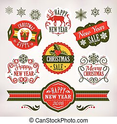 Christmas and New Year decoration elements and labels -...