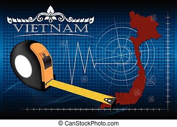 Map of Vietnam with ruler, vector.