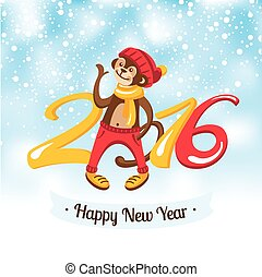 New Year greeting card with cute monkey