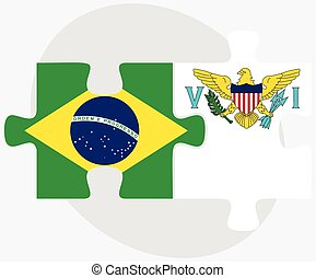 Brazil and Virgin Islands (U.S.) Flags in puzzle isolated on...