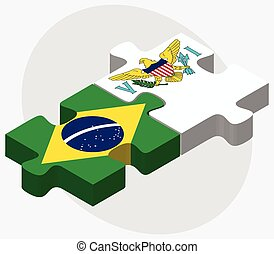 Brazil and Virgin Islands US Flags in puzzle isolated on...