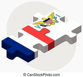 France and Virgin Islands US Flags in puzzle isolated on...