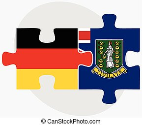 Germany and Virgin Islands British Flags in puzzle isolated...
