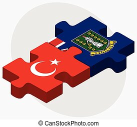 Turkey and Virgin Islands British Flags in puzzle isolated...