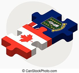 Canada and Virgin Islands British Flags in puzzle isolated...