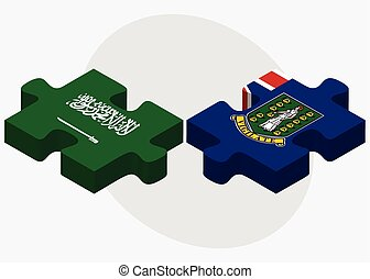 Saudi Arabia and Virgin Islands British Flags in puzzle...