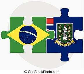 Brazil and Virgin Islands British Flags in puzzle isolated...
