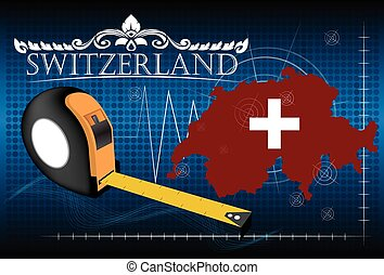 Map of Switzerland with ruler, vector.