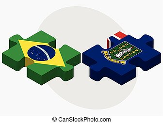 Brazil and Virgin Islands (British) Flags in puzzle isolated...