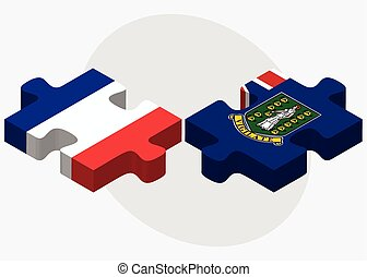 France and Virgin Islands British Flags in puzzle isolated...